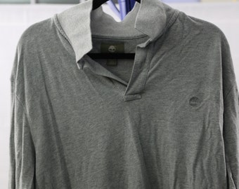 Timberland grey long sleeve polo size L large