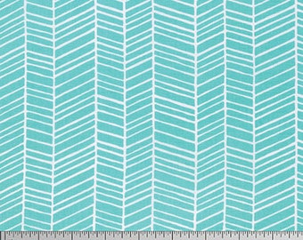 One Yard Joel Dewberry Herringbone Aqua Fabric, Aqua Herringbone Fabric,  Aqua Herringbone Cotton, PWTC007.AQUAX