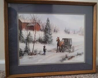 Amish Children in the Winter - Vintage Signed Original Koenig Print