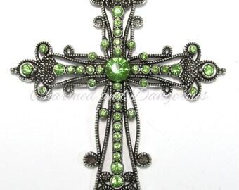 Lime Rhinestone Cross pendant (P41)