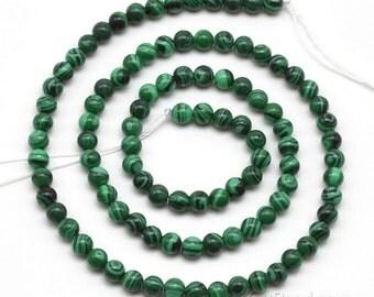 Malachite beads, 4mm round, gemstone beaded strand, green stone beads, malachite round beads, small gem bead necklace wholesale,  MLC2010