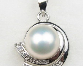 White pearl pendant, big freshwater pearls, natural pearl pendant, sterling 925 silver pearl necklace for ladies, 10-11mm, F1645-WP