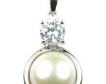 White pearl pendant, freshwater pearls pendant, cultured pearl crystal pendant, sterling 925 silver, pearl necklace, 11-12mm, F2370-WP
