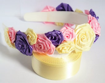 flower headband for women. flower headbands for adults, satin flowers for hair, satin flowers for weddings, small roses for hair