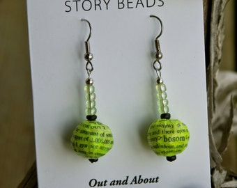 Earrings Made from Repurposed Books, Word Art Earrings, Story Bead Earrings Made from Old Books, Repurposed Book Jewelry