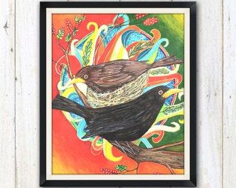 Blackbird Mandala art print