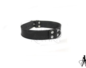 Black BDSM collar made of real leather