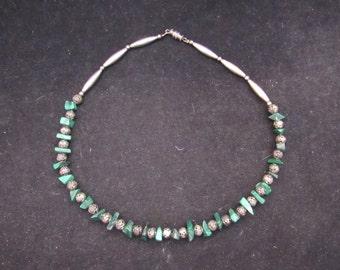 Sterling Silver Malachite Necklace Southwest Native America  Style (0008)