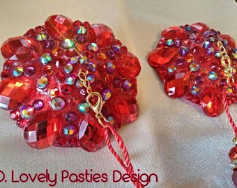 "Red rhinestone burlesque pasties nipple tassels: The ""Analyze These"""