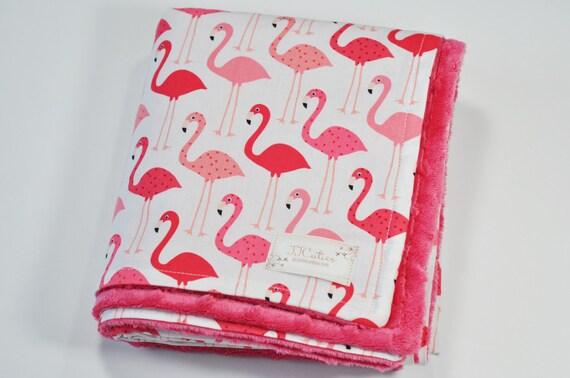 Flamingo Minky Baby Blanket Personalized Flamingo By Jjcuties