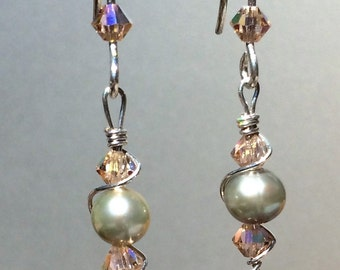 Swarovski Crystal and Freshwater Pearl Earrings with Sterling Silver Wire