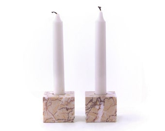 Tan Marble Cube Candle Holders