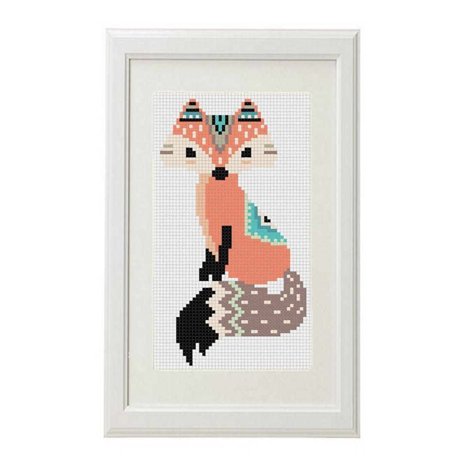fox motif de point de croix renard stylos conception ethnique. Black Bedroom Furniture Sets. Home Design Ideas