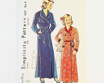 Simplicity 1637   40s Girls Robe Pattern   40s Housedress Pattern   40s Sewing Pattern
