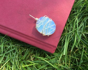 Opalite silver wire wrapped pendant