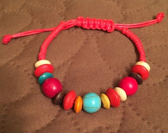 Red Cord Bracelet with Wooden Beads