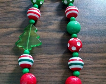 Christmas Tree Toddler Bubblegum Necklace