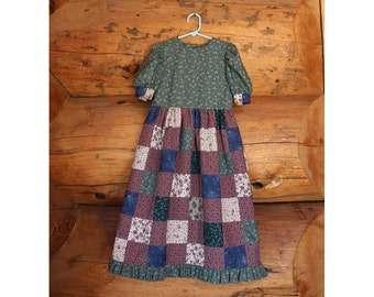 Girl's patchwork dress, little girl's dress, child's dress, old fashioned dress, prairie dress, child's long dress, girl's long dress