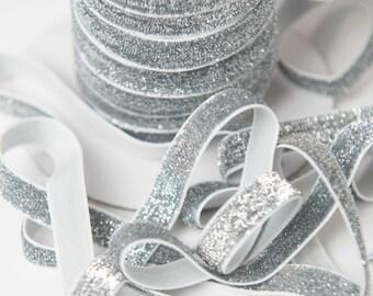 3/8 silver glitter Elastic, glitter foe sparkle elastic by the yard, fold over elastic, foldover elastic glitter headband, wholesale elastic