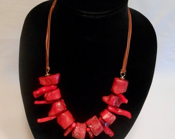 Exotic Red Bold statement Coral Necklace