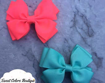 Set Of 2 Neon Pink & Blue Hair Bows