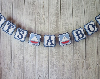 Nautical Banner, FREE US SHIPPING, It's A Boy, Nautical Baby Shower, Nautical Name Banner, Nautical Theme Party, Nautical Shower