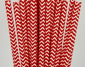 Red & White Chevron Paper Straws