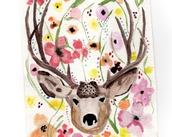 4.5x6 Small Original Watercolor Painting of a Deer & Colorful Flowers