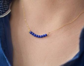 Blue bar necklace, Blue agate necklace, blue necklace, agate necklace, stone necklace, blue multi strand necklace, blue stone necklace