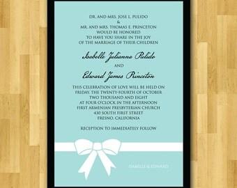 Wedding Invitations set, printed, handmade - Tiffany