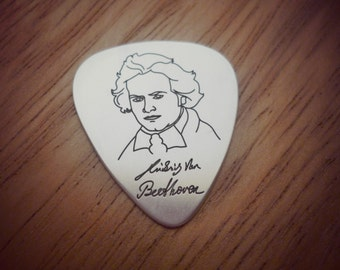 Beethoven Silver Pick, musician gift, silver pick, guitar pick, guitar gift, guitar, guitar pick necklace, Groomsman gift, gift for him
