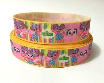 "1"" Abby Cadabby Ribbon, Sesame street grosgrain ribbon, sesame street ribbon, 1 inch ribbon"