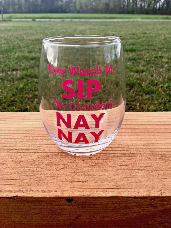 Watch Me Sip Stemless Wine Glass Funny By Lilyannsvinylcompany