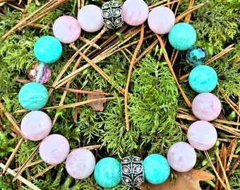 Healing Gemstone Bracelet - Rose Quartz & Amazonite