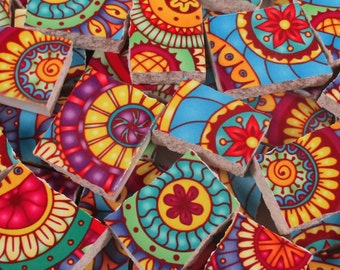 Ceramic Mosaic Tiles - Bright Colors Medallions Yellow Blue Pink Mosaic Tile Pieces - 40 Pieces - Mosaic Art / Mixed Media Art/Jewelry