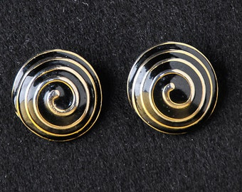 Black & Silver Swirl Studs