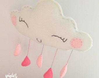 Ruby Raindrop Cloud / Cloud Mobile Nursery Decoration