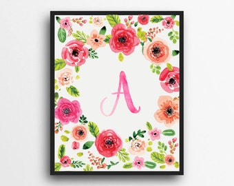 Monogram Letter A Print | Floral Wreath Monogram | Initial Print | Watercolor Floral Print | Digital Download
