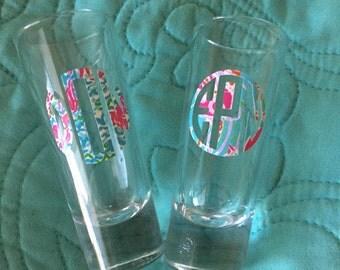 Monogram shot glasses