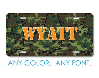 custom license plate personalized monogram aluminum full color vanity front plate green brown black camo camouflage