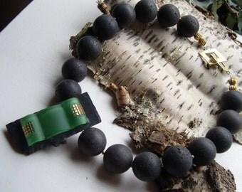 Necklace - Art Deco lava necklace item - 48 cm