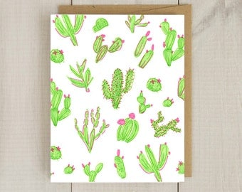 Vibrant Cactus Illustration.Blank Card...Fashion Art..Fashion Card