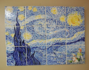 Starry Night Tile wall Hanging