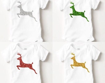 Infant Reindeer Bodysuit - Glitter - Baby Christmas - My First Christmas - Holiday Shirt - Christmas Outfit