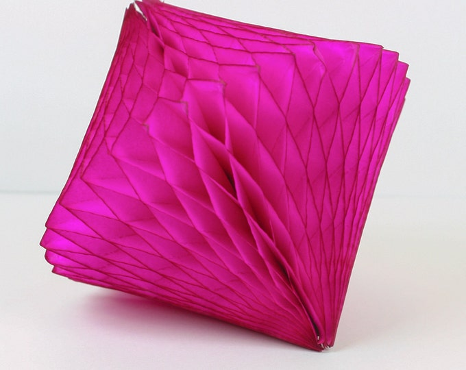 Hot Pink Tissue Paper Honeycomb Diamond  // Party Decoration for Birthday or Wedding, Bridal or Baby Shower // Photo Prop or Backdrop
