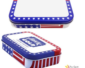 24 USA Flag Stars n Stripes Rectangular Tins  Empty Party Event Favors 4th of July Memorial Day