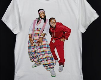 OutKast Hip Hop Duo André 3000 Andre 3K Dre 3 Stacks Johnny Vulture & Big Boi White Unisex T-Shirt S-XXL