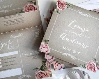Vintage Grey Wedding Invitation Sample