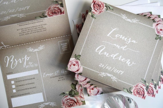 Vintage Grey Wedding Invitation Sample