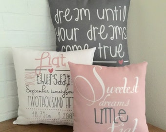 Baby Girl Birth Announcement Pillow Gift Set